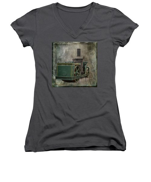 Buffalo Springfield Steam Roller Women's V-Neck T-Shirt (Junior Cut) by Paul Freidlund