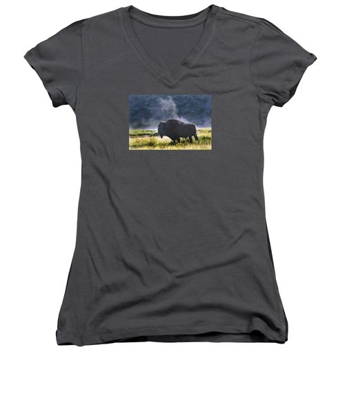 Buffalo Steam-signed-#2170 Women's V-Neck (Athletic Fit)