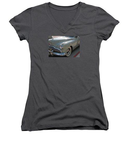 Buick Roadmaster Women's V-Neck T-Shirt (Junior Cut) by Connie Fox