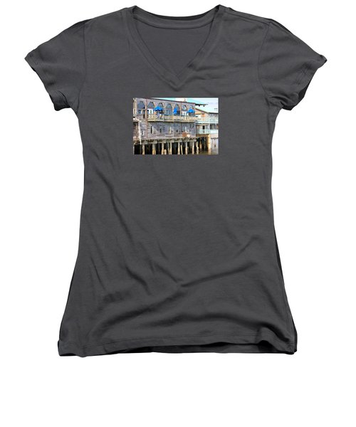 Women's V-Neck T-Shirt (Junior Cut) featuring the photograph Building On Piles Above Water by Lorna Maza