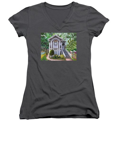 Women's V-Neck T-Shirt (Junior Cut) featuring the painting Alameda 1895 Queen Anne by Linda Weinstock