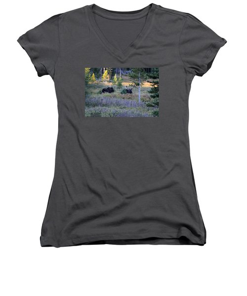 Bulls In The Meadow Women's V-Neck (Athletic Fit)