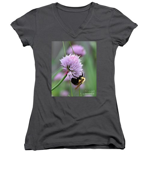 Women's V-Neck T-Shirt (Junior Cut) featuring the photograph Bumblebee On Clover by Barbara McMahon
