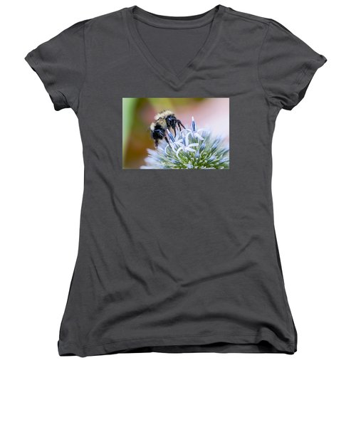 Bumblebee On Thistle Blossom Women's V-Neck (Athletic Fit)