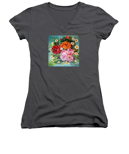 Bunch Of Flowers Women's V-Neck T-Shirt (Junior Cut) by Yolanda Rodriguez