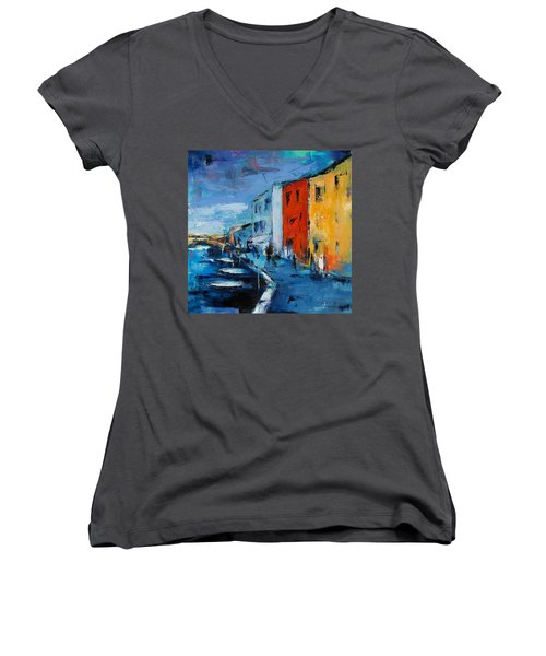 Burano Canal - Venice Women's V-Neck (Athletic Fit)