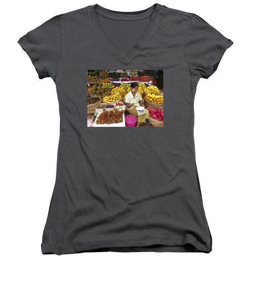 Burmese Lady Selling Colourful Fresh Fruit Zay Cho Street Market 27th Street Mandalay Burma Women's V-Neck T-Shirt
