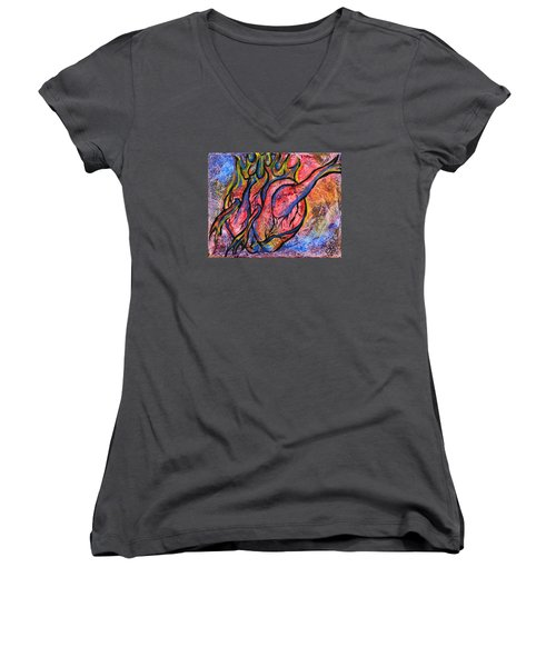 Burning Hearts Women's V-Neck (Athletic Fit)