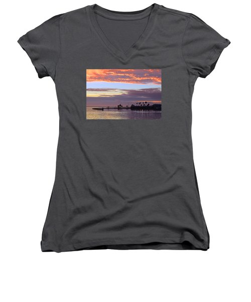 Burning Sky Women's V-Neck T-Shirt (Junior Cut) by Leticia Latocki