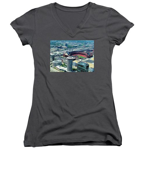 Busch Stadium From The Top Of The Arch Women's V-Neck T-Shirt (Junior Cut) by Janette Boyd