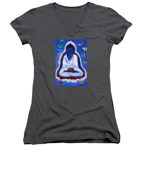 Butterflies Dream Of Buddha Women's V-Neck (Athletic Fit)