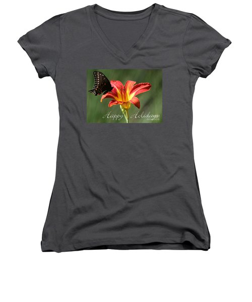 Butterfly And Lily Holiday Card Women's V-Neck