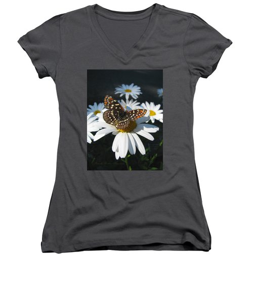 Butterfly And Shasta Daisy - Nature Photography Women's V-Neck (Athletic Fit)