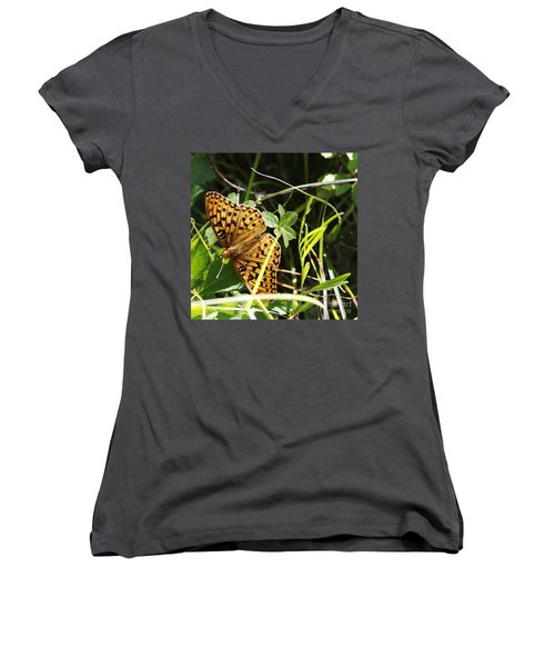 Women's V-Neck T-Shirt (Junior Cut) featuring the photograph Butterfly At Signal Mountain by Belinda Greb