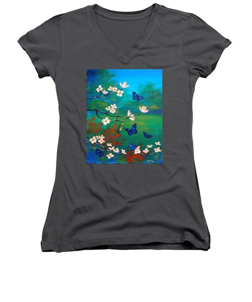 Butterfly Blue Women's V-Neck