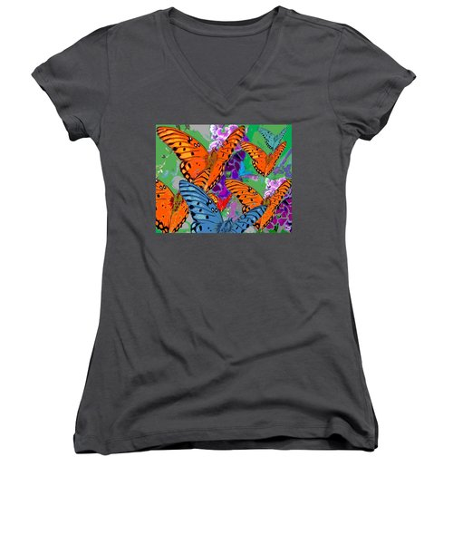 Butterfly Joy Women's V-Neck T-Shirt (Junior Cut) by Mary Armstrong