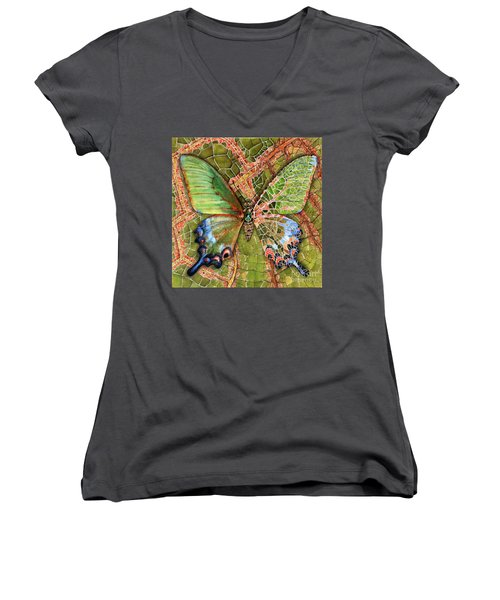Butterfly Mosaic 03 Elena Yakubovich Women's V-Neck T-Shirt (Junior Cut) by Elena Yakubovich