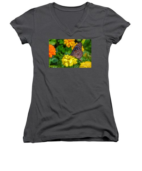 Butterfly On Yellow Marigold Women's V-Neck