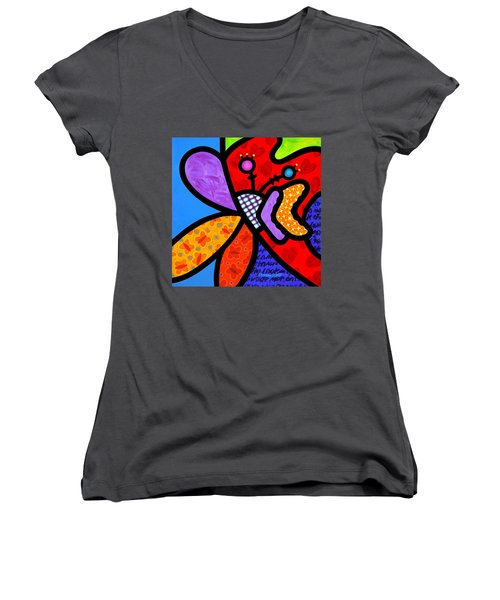 Butterfly Orchid Women's V-Neck T-Shirt
