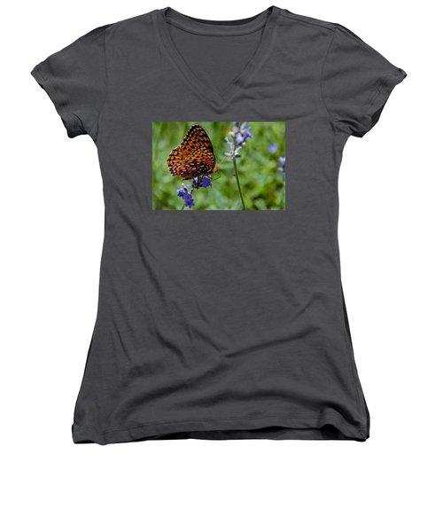 Butterfly Visit Women's V-Neck