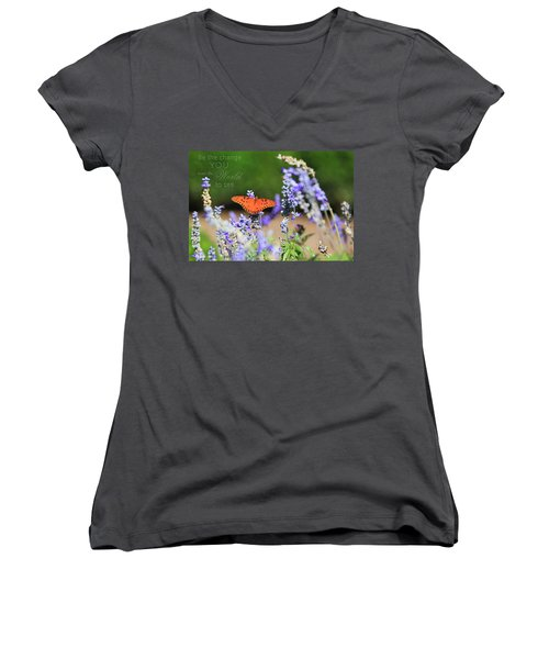 Butterfly With Message Women's V-Neck