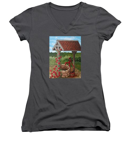 Women's V-Neck T-Shirt (Junior Cut) featuring the painting By The Water Pump by Katherine Young-Beck