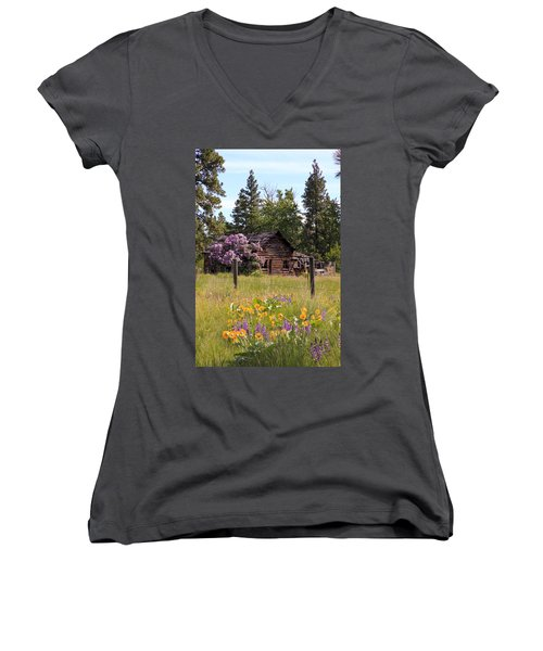 Cabin And Wildflowers Women's V-Neck T-Shirt (Junior Cut) by Athena Mckinzie