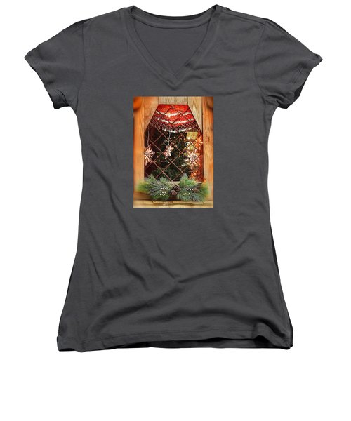 Cabin Christmas Window Women's V-Neck T-Shirt (Junior Cut) by Nadalyn Larsen