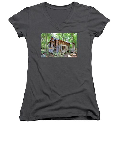 Women's V-Neck T-Shirt (Junior Cut) featuring the photograph Cabin In The Woods by Gordon Elwell