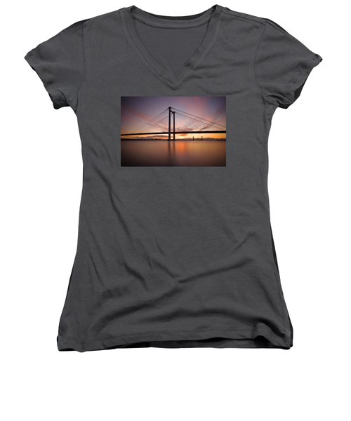 Women's V-Neck T-Shirt (Junior Cut) featuring the photograph Cable Bridge by Ronda Kimbrow