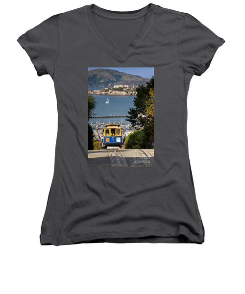 Cable Car In San Francisco Women's V-Neck T-Shirt (Junior Cut) by Brian Jannsen