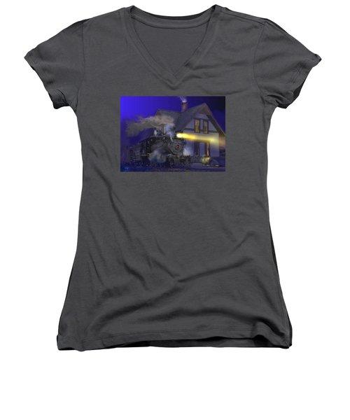 Caboose Hop At Dolores Colorado Women's V-Neck T-Shirt (Junior Cut) by J Griff Griffin