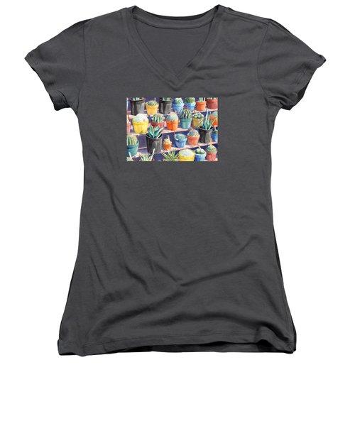 Cacti Chorusline Women's V-Neck T-Shirt