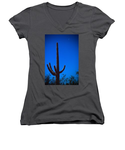 Cactus And Moon Women's V-Neck (Athletic Fit)