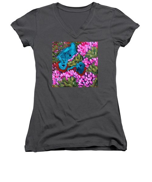Cactus Flower Blue Bird Dream Women's V-Neck T-Shirt