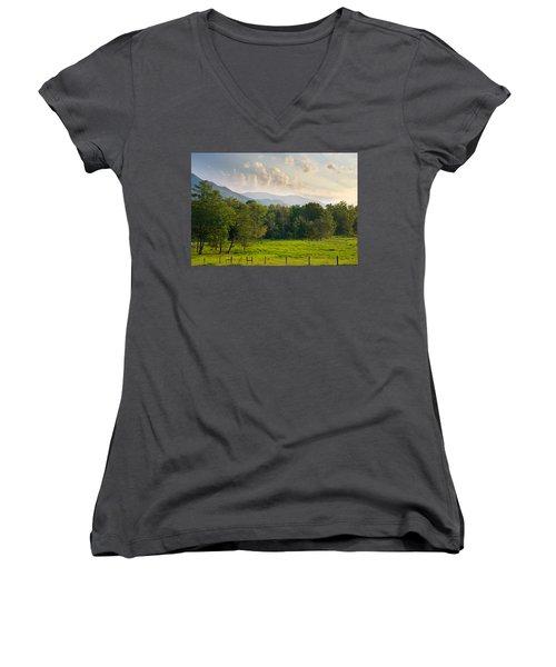 Cades Cove Women's V-Neck T-Shirt (Junior Cut) by Melinda Fawver