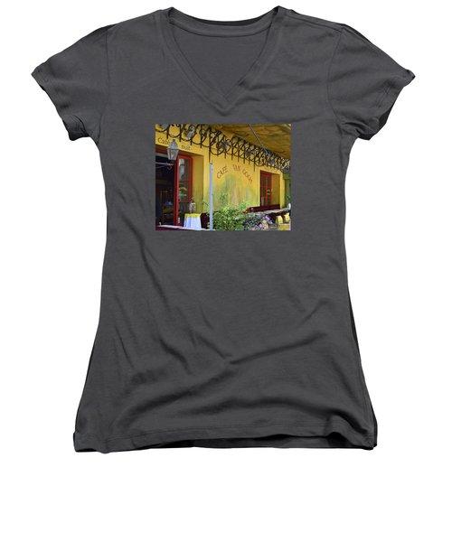 Cafe Van Gogh Women's V-Neck T-Shirt (Junior Cut) by Allen Sheffield