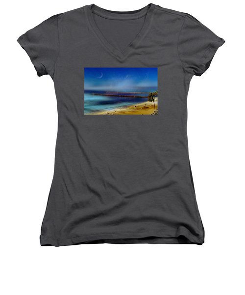 California Dreaming Women's V-Neck T-Shirt (Junior Cut) by Tammy Espino