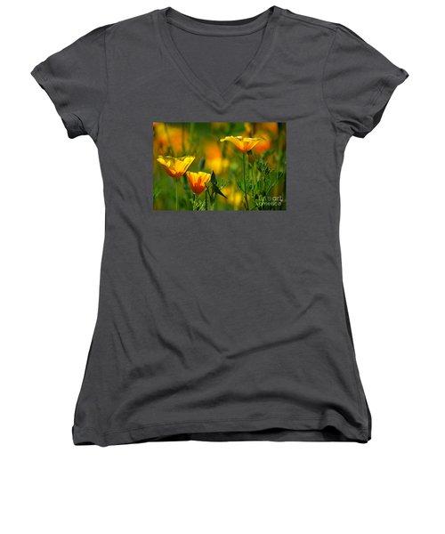 California Poppies Women's V-Neck T-Shirt (Junior Cut) by Deb Halloran