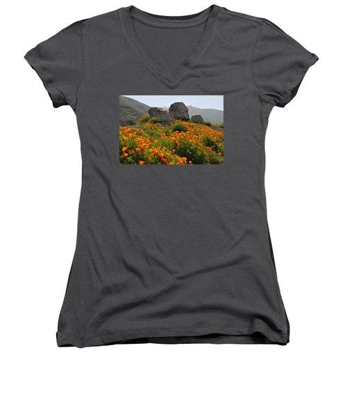 Women's V-Neck T-Shirt (Junior Cut) featuring the photograph California Poppies by Lynn Bauer