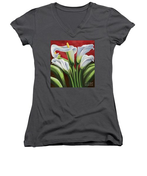 Women's V-Neck T-Shirt (Junior Cut) featuring the painting Calla Lilies  by Tim Gilliland