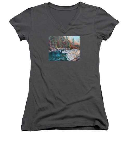 Calling Me Home Women's V-Neck T-Shirt (Junior Cut) by Patricia Olson