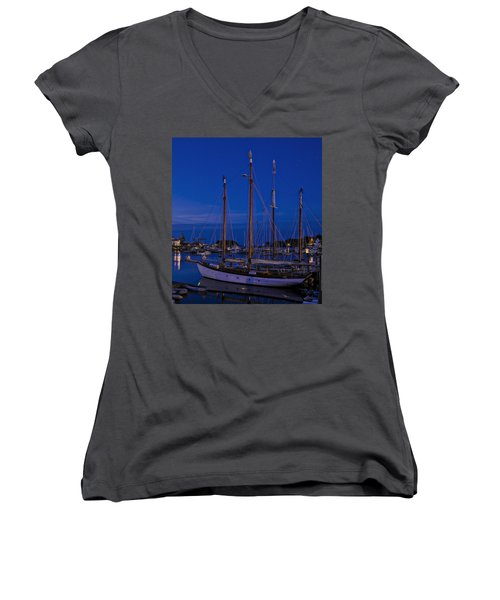 Camden Harbor Maine At 4am Women's V-Neck (Athletic Fit)