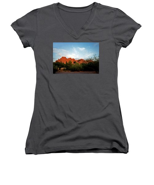 Camelback Mountain And Moon Women's V-Neck T-Shirt