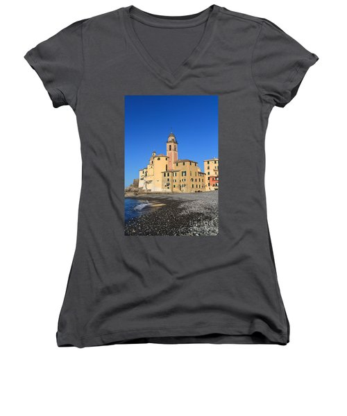 Women's V-Neck T-Shirt (Junior Cut) featuring the photograph Camogli Seaside And Church by Antonio Scarpi