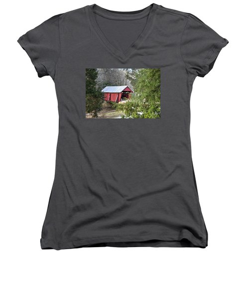 Campbell's Covered Bridge-1 Women's V-Neck