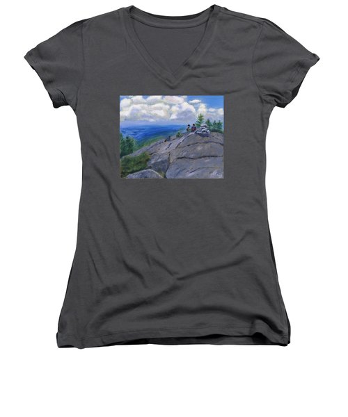 Campers On Mount Percival Women's V-Neck T-Shirt