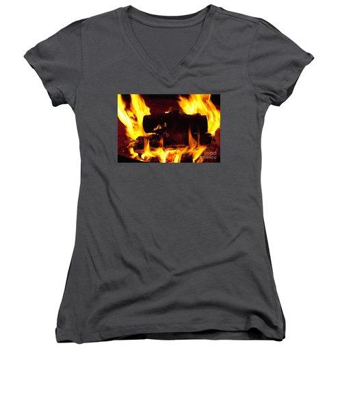 Campfire Burning Women's V-Neck (Athletic Fit)