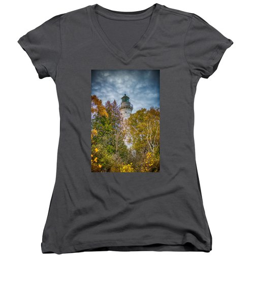 Cana Island Lighthouse II By Paul Freidlund Women's V-Neck T-Shirt (Junior Cut) by Paul Freidlund
