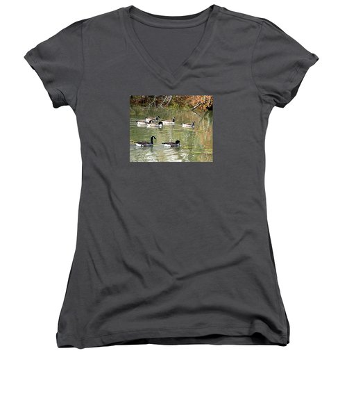 Canadian Geese Swimming In Backwaters Women's V-Neck T-Shirt (Junior Cut) by William Tanneberger